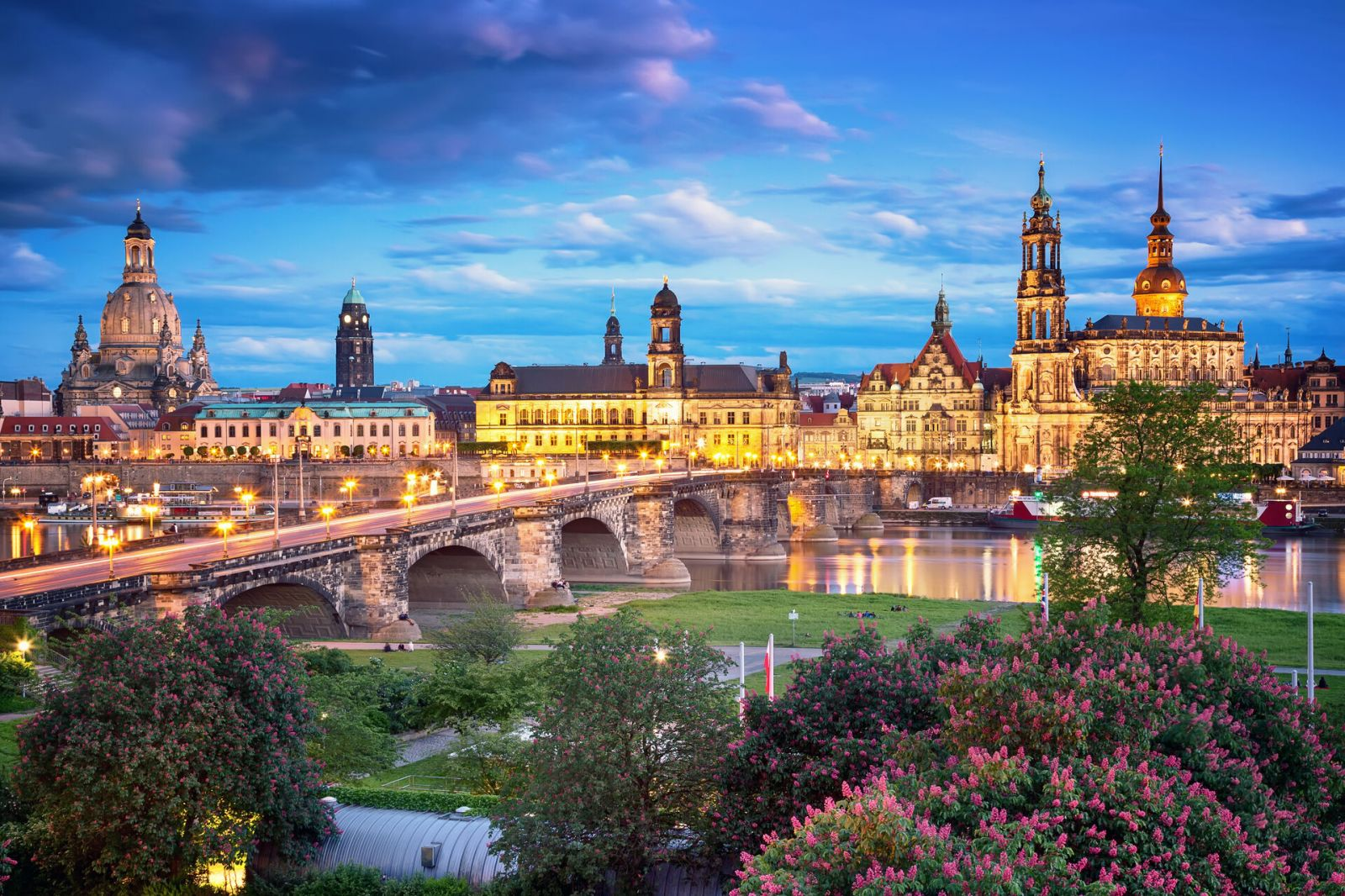 Dresden Panorama on the Elbe river in the Evening
