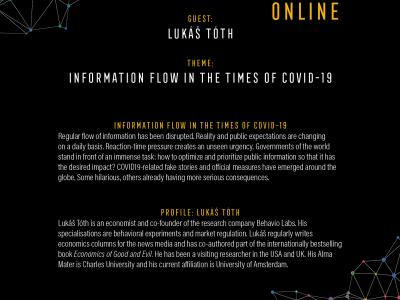 South Moravian Region (Czech Republic) and its partners are pleased to invite you to the Science Café with Lukáš Tóth, an unconventional open discussion, this time exceptionally held online, focused on the topic of information flow in times of COVID-19. Regular flow of information has been disrupted. Reality and public expectations are changing on a daily basis. Reaction-time pressure creates an unseen urgency.