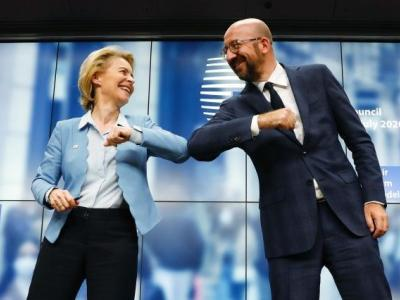 President Von der Leyen and Charles Michel bump elbows instead of shaking hands