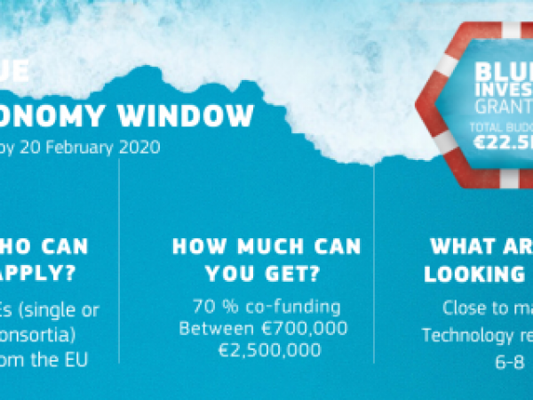 The poster for the Blue Economy Window call